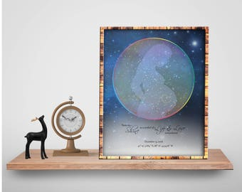 Custom Star Chart-A Life Remembered-Rainbow-Actual Night Sky-Loss of Child-Loss of Baby Boy-Miscarriage-Stillborn-Remembrance-Angel Baby-1