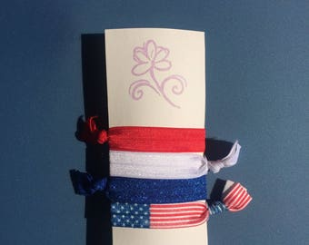 Elastic Hair Tie, Fourth of July, Fourth of July Accessories, Red White and Blue, Hair Tie, USA, Independence Day, Fold Over Elastic