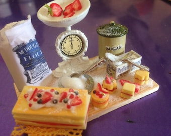 Dollhouse miniature hand made cake prep board , dolls house food ,handmade one inch scale