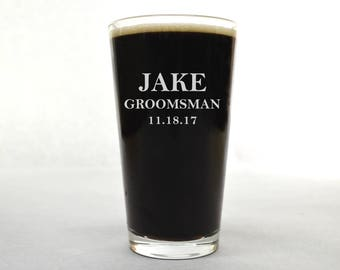 Wedding Pint Glass - Groomsman Pint Glass - Beer Glass - Custom Pint Glass - Custom Beer Glass - Pint Glass - Beer Glass Personalized