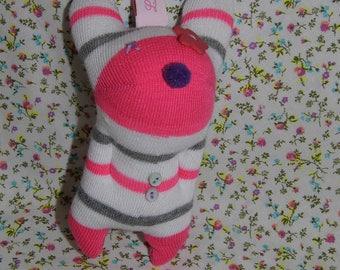 striped sock plush keychain