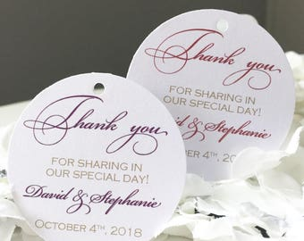 Set of 25 Wedding Thank You Tag - Purple & Gold Thank You Tag - Red and Gold Thank You Tag - Gold Glitter Tag - Personalized Thank You Tag
