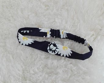 SALE Baby headband in blue navy sunflower