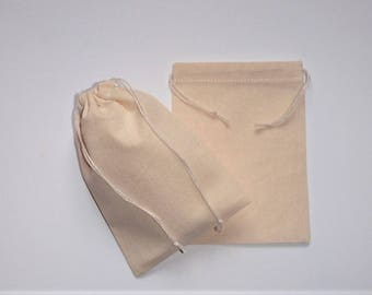 "Muslin Gift Pouches * Natural Cotton Bags * Cotton Stuff Bags * Small Canvas Bags * Set of 15 Cotton Pouches * 4"" x 5"" ( 10cm  x 13cm )"