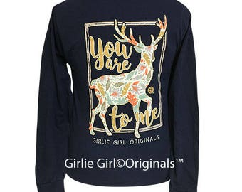 Girlie Girl Originals Deer To Me Navy Long Sleeve T-Shirt