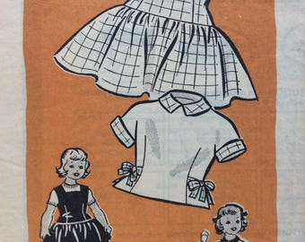 Marian Martin mail order 9165 girls blouse and jumper or dress size 4 vintage 1950's sewing pattern