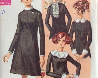 Simplicity 7843 misses A-line dress with detachable trims size 16 bust 38 vintage 1960's sewing pattern