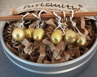 Olive Oil Freshwater Pearl & Sterling Silver Stitch Markers for Knitting,Set of 6,Knitting Notions, Gift for Knitter