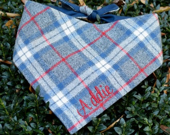 Personalized Flannel Grey Blue and Red Plaid Dog Bandana  || Pet Gift by Three Spoiled Dogs