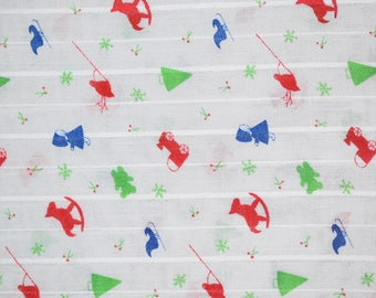 White Christmas Toys Fabric, White Christmas Fabric, Christmas Quilting Fabric, Vintage Quilting Fabric, Vintage Fabric, Holly Fabric