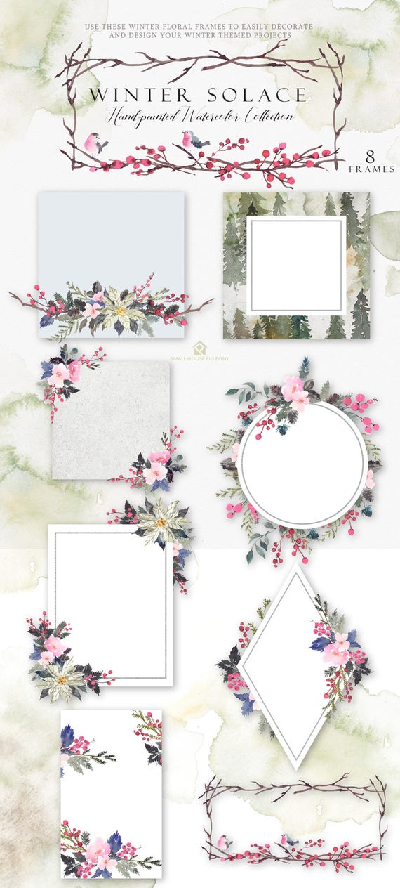 Digital Frames Clipart- Watercolor Flower Clipart, Frames Clip art, Floral Bouquet Clipart, winter flowers clip art- Winter Solace