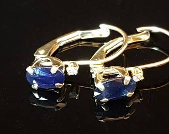 """Vintage  14k Yellow Gold  Pierced Earrings with Blue Stones Saphire Stone  3/4"""""""