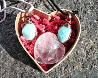Love necklaces, matching jewelry, couple's gift jewelry, Valentine's day, amazonite wire wraps suede cord, heart crystal, communication