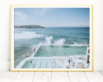 Bondi Beach, Aerial Beach Print, Extra Large Wall Art, Beach Poster, Bedroom Wall Art, Office Artwork, Sydney, Australia, Beach Photography