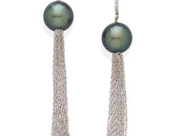 18KWG DIAMOND and PEARL TASSEL earrings