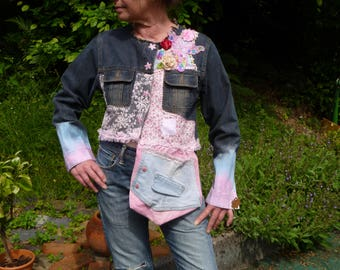 short jacket style pink lace and denim shabby/Bohemian recycled