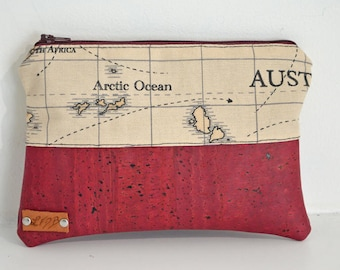 Bordeaux Cork and cotton fabric pouch printed