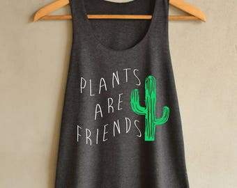 Plants Are Friends Shirt Cactus Tank Top in Vintage Summer Tank Top Dark Gray Shirts Women Size S M L