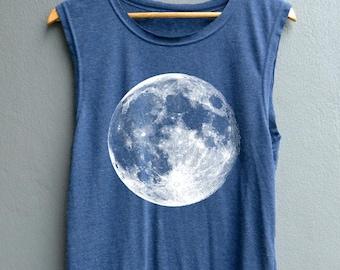 Full Moon Shirt Moon night Shirt Moon Tank top Shirt Muscle Tank Top Womens