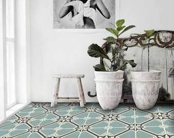 Samsara Vinyl Tile Sticker Pack in Celadon - Tile Decals - Floor Stickers
