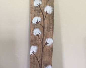 Hand painted cotton stem on barnwood