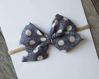 dark gray polka dot sailor bow, big sailor bow, dark gray bow, big sailor bow, baby headband, clip, nylon headband