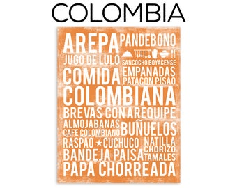 Colombia Food Subway Art Print - Colombian Food Poster - Various Sizes & Colors