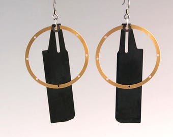 Camera Parts Earrings, Jewelry, One of a Kind, Photographic, Large Black Shutter Blades, Handmade Gifts for Photographers and Photo Fans