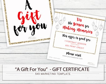 """5x5 """"A Gift for You"""" Holiday Gift Certificate - Digital Template for Photographers"""