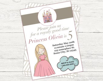 Princess digital Birthday invitation