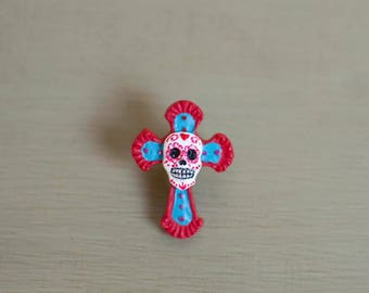 Day of the Dead, Sugar Skull, Halloween, Brooch, Pin, Halloween Costume, Dia de los Muertos, Skull Brooch,