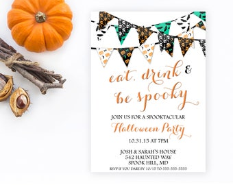 Halloween Party Invitation, Halloween Invitations, Happy Halloween, Halloween, Fall, Pumpkin, Fall Party, Eat Drink and Be Spooky [286]