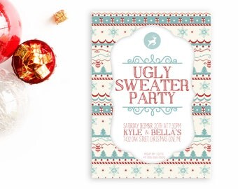 Ugly Sweater Invites, Christmas Party Invitation, Merry Christmas Invite, Christmas, Printable Christmas Invite, Christmas Invites [82]