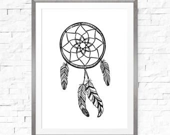 Dreamcatcher art, Nursery wall art, Kids room decor, Dreamcatcher wall art, Download instant, Tribal nursery decor, Tribal print