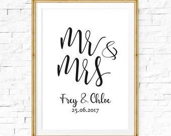 Personalized wedding sign, Mr and Mrs sign, Marriage printable, Wedding printable, Anniversary party sign, Bridal shower sign, Anniversary