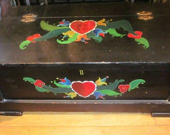 Vintage Hand Painted Small Trunk - Vintage Storage - Swedish Trunk - Antique Toy Box