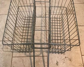 On Sale HUGE Vintage Metal Bicycle Bike Rear Fender Dual Double Baskets Saddlebags Rack