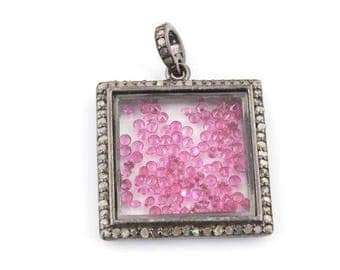 XMAS In July 1 Pc Beautiful Pave Diamond Ruby Square Shaker Pendant Over 925 Sterling Silver 25mmx21mm PD1235