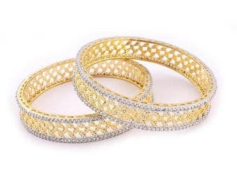 VALENTINE DAY SALE 2 Pcs 24 Ct Gold Plated Cubic Zirconia Bangle - Best Quality 24 Ct Gold Plated Bangle Size:2.35 Cz039