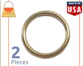"""1-1/4 Inch O Rings, Cast Solid Brass, 2 Pieces, Handbag Purse Bag Making Supplies Hardware, 1-1/4"""", 1.25 Inch, 1.25"""", RNG-AA130"""