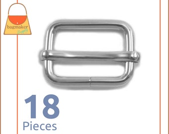 "3/4 Inch Moving Bar Slide, Nickel Finish, 18 Pack, Movable Bar, Purse Handbag Bag Making Hardware Supplies, .75 Inch, 3/4"", .75"", BKS-AA048"