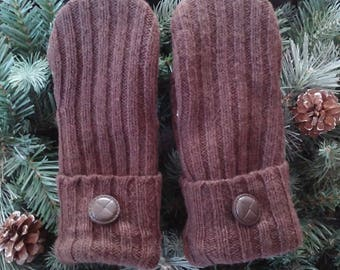 Wool Recycled Sweater Mittens, Brown Wool Mittens, Recycled Sweater Mittens,  Brown Mittens, RSM - 000200