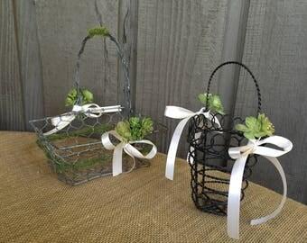 Flower girl baskets/ industrial flower girl basket / industrial wedding/faux succulent basket/ succulent/ wire basket/ rustic glam/ altered