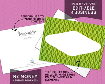 Editable for Business   NZ Money Theme   GreenGold   Entrepreneur   Finance   Forever Cards   Single Use License included   Instant Download