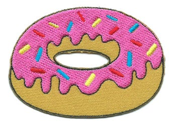 Donut Strawberry Iron On Patch Embroidered Applique