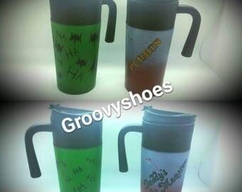 His and hers matching thermal mugs, Harley and joker mugs