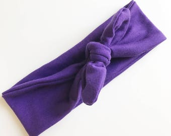 Baby Girl Purple Tie Knot Headband Headwrap Turban