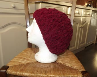 Thick Beanie crocheted in chunky wool/acrylic Terry, Burgundy
