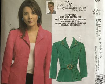 McCalls M5668 - Princess Seamed Jacket with Pointed Collar and Self Belt - Size 8 10 12 14 OR 8-20