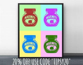WARHOL MARMITE - andy warhol - pop art - 1960's - kitchen art - poster - 8x10 - 11x14 - marilyn monroe - bar cart -  vegemite - britain